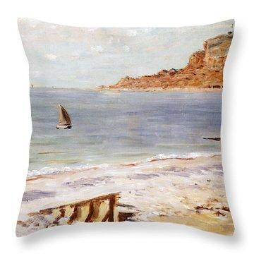 Seascape At Sainte Adresse  Throw Pillow by Claude Monet
