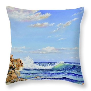 Throw Pillow featuring the painting Seascape Beach by Mary Scott