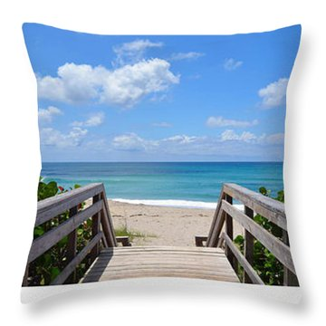Seascape  Boardwalks Treasure Coast Florida Collage 1 Throw Pillow