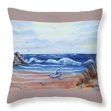 Seascape Throw Pillow by Denise Fulmer