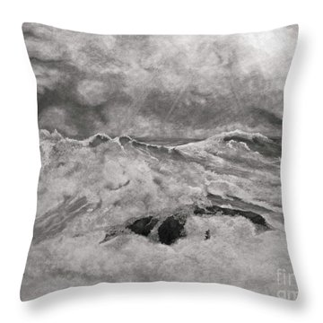 Seascape In Graphite Throw Pillow by John Stuart Webbstock