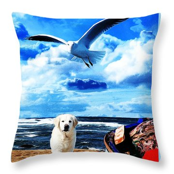 Throw Pillow featuring the digital art Seascape - Paesaggio Marino by Zedi