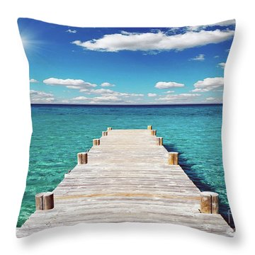 Seascape Sunrise Treasure Coast Florida Pier C6 Throw Pillow