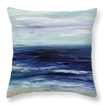 Seascape With White Cats Throw Pillow by Regina Valluzzi