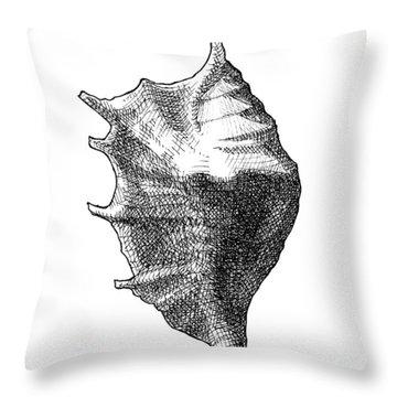 Seashell 1 - Nautical Beach Drawing Throw Pillow
