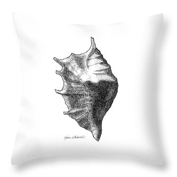 Throw Pillow featuring the drawing Seashell 1 - Nautical Beach Drawing by Karen Whitworth