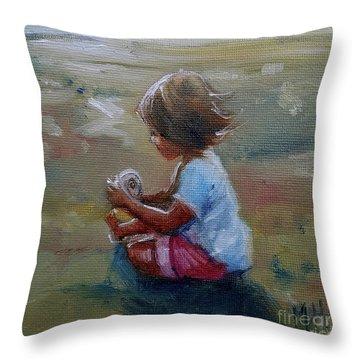 Seashell Contemplation Little Girl Beach Shell Throw Pillow