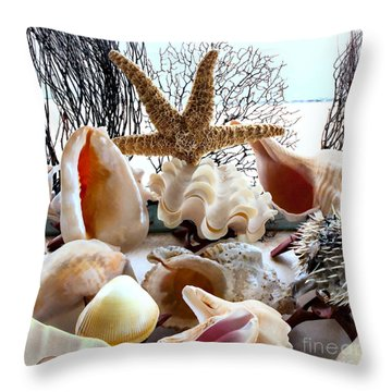 Seashell Galore Throw Pillow