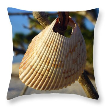 Cockelshell On Tree Branch Throw Pillow