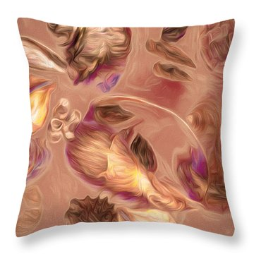 Throw Pillow featuring the mixed media Seashell Medley In Pale Orange by Lynda Lehmann