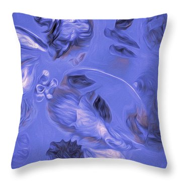 Throw Pillow featuring the mixed media Seashell Medley In Violet by Lynda Lehmann