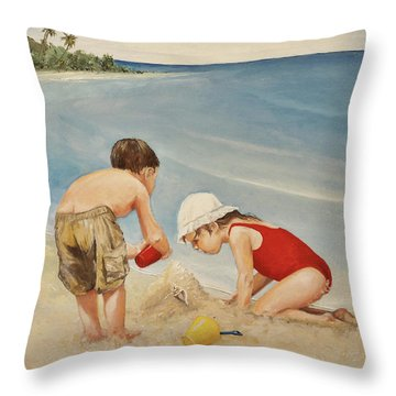 Seashell Sand And A Solo Cup Throw Pillow