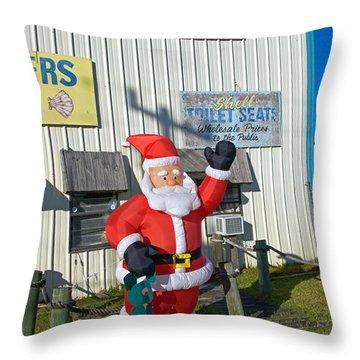 Seashell Seats For Christmas Throw Pillow by Allan  Hughes