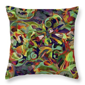 Throw Pillow featuring the mixed media Seashells Abstract 14 by Lynda Lehmann