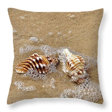 Seashells And Bubbles 2 Throw Pillow by Kaye Menner