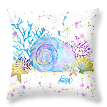 Seashells And Coral Watercolor Throw Pillow