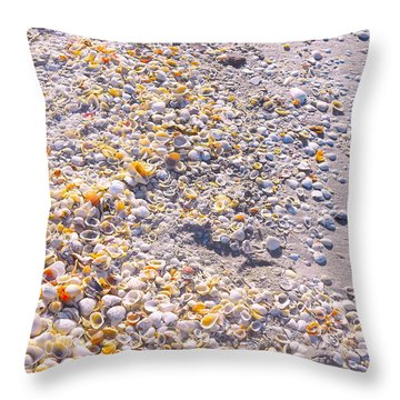 Seashells In Sanibel Island, Florida Throw Pillow