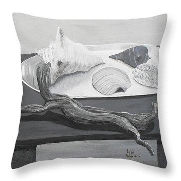 Seashells On Table Throw Pillow