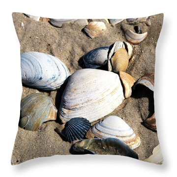 Throw Pillow featuring the photograph Seashells On The Beach by John Rizzuto