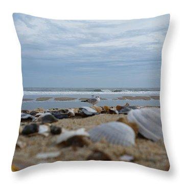 Seashells Seagull Seashore Throw Pillow