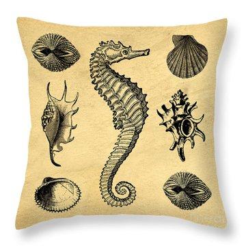 Throw Pillow featuring the digital art Seashells Vintage by Edward Fielding