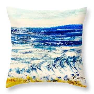 Throw Pillow featuring the painting Seashore  by Monique Faella