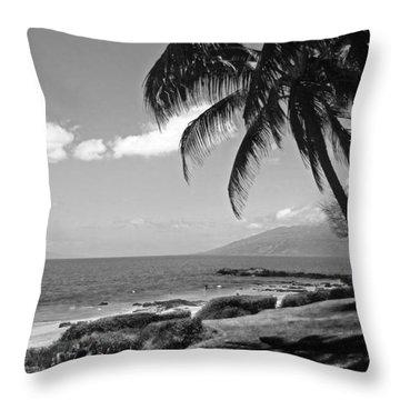 Seashore Palm Trees Throw Pillow
