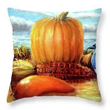 Seashore Pumpkin  Throw Pillow