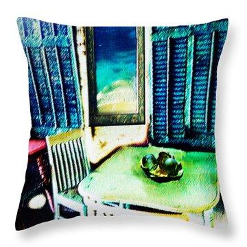 Seaside Cafe Throw Pillow