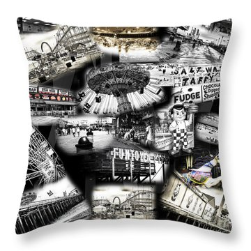 Throw Pillow featuring the photograph Seaside Funtown by John Rizzuto