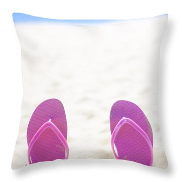 Seaside Holiday Concept With Copyspace Throw Pillow