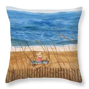 Seaside In Massachusetts Throw Pillow