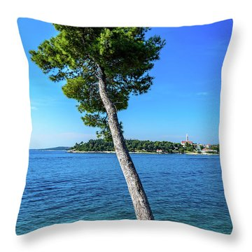 Seaside Leaning Tree In Rovinj, Croatia Throw Pillow
