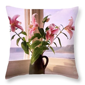 Seaside Lilies Throw Pillow by Terri Waters
