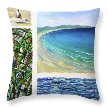 Throw Pillow featuring the painting Seaside Memories by Chris Hobel