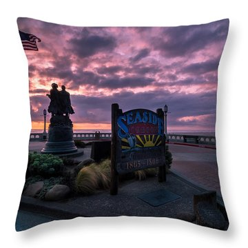 Seaside Oregon Sunset Throw Pillow