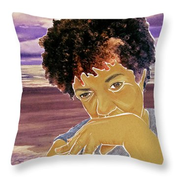 Seaside Pondering Throw Pillow