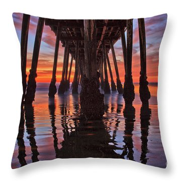 Seaside Reflections Under The Imperial Beach Pier Throw Pillow
