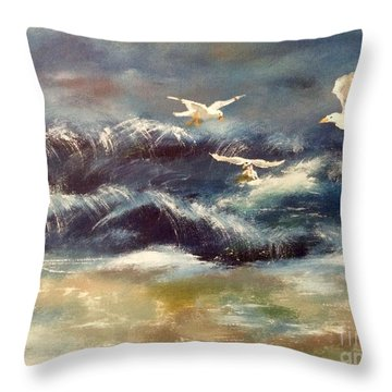 Throw Pillow featuring the painting Seaside Serenade by Denise Tomasura