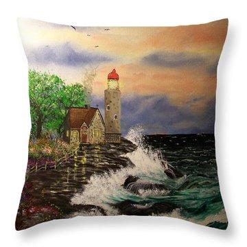 Seaside Vigil Throw Pillow by Laurie Kidd