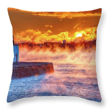 Seasmoke At Salem Lighthouse Throw Pillow