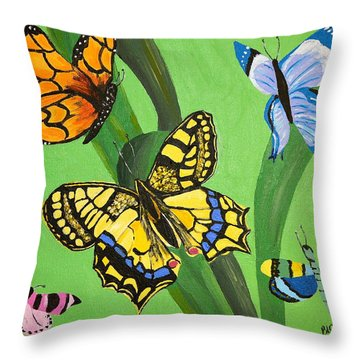 Season Of Butterflies Throw Pillow by Donna Blossom