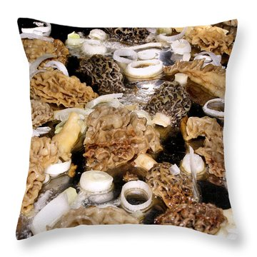 Season's First - Morel Mushrooms Throw Pillow