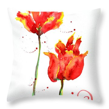 Season's First Tulips Throw Pillow