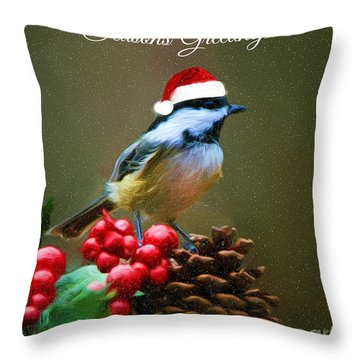 Seasons Greetings Chickadee Throw Pillow