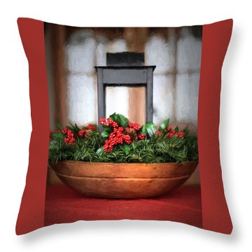 Throw Pillow featuring the photograph Seasons Greetings Christmas Centerpiece by Shelley Neff