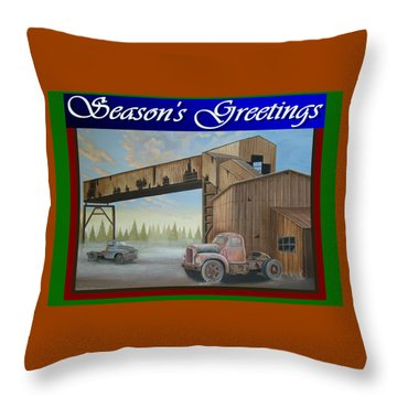 Throw Pillow featuring the painting Season's Greetings Old Mine by Stuart Swartz