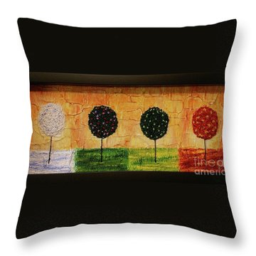 Throw Pillow featuring the painting Seasons Of Love by Jane Chesnut