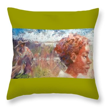 Throw Pillow featuring the painting Seasons Of Sweetgrass by Gertrude Palmer