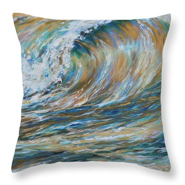 Seaspray Gold Throw Pillow by Linda Olsen